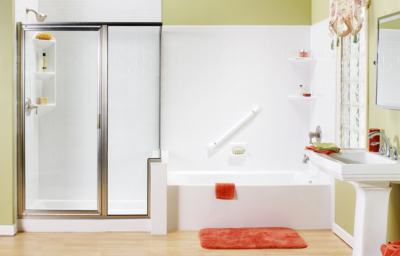 Shower with glass door and bathtub