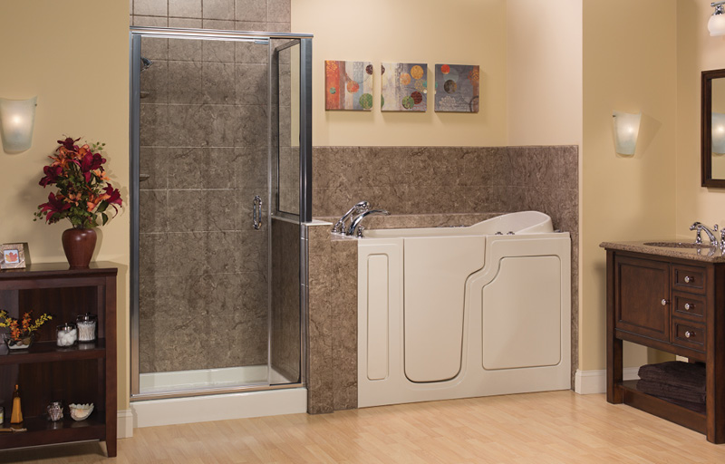 Shower with glass door and walk-in bathtub